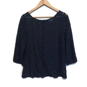 LOFT Navy Blue 3/4 Sleeve Floral Lace Top